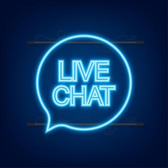 Live-chat-sprechblasen-konzept. neon-symbol. vektorgrafik auf lager.