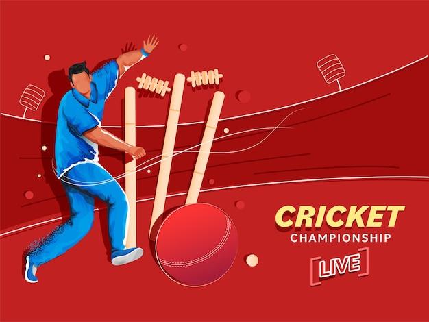 Live-cricket-meisterschaftskonzept mit cartoon-bowler-charakter und wicket-stumpf auf rotem hintergrund.