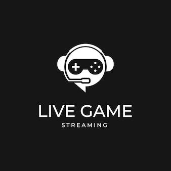 Live gaming logo mit kopfhörermikrofon vektor vorlage