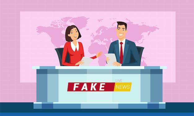 Live gefälschte nachrichten auf tv-cartoon-illustration. reporter lesen aktuelle nachrichten aus papier. rundfunk. moderner lebensstil. weltkarte auf dem bildschirm