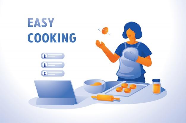 Live-kochen zu hause mit online-kurs