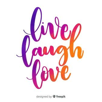 Live lachen liebe aquarell schriftzug