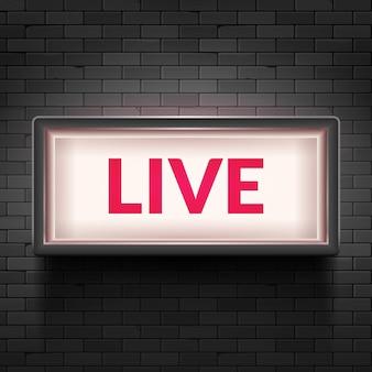 Live-licht-sendezeichen. tv-radiostudio live red box auf airshow-symbol.