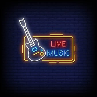 Live music neon signs style text