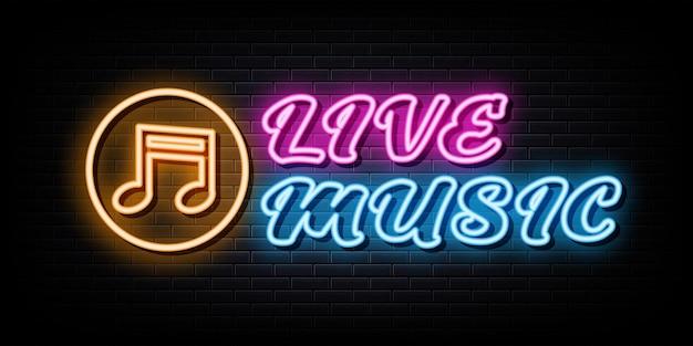 Live-musik-neon-schilder-vektor-design-vorlage im neon-stil