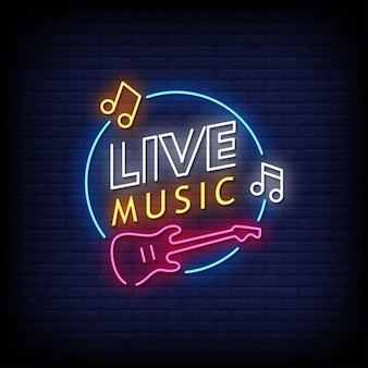 Live musik neon signs style text