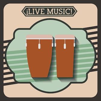 Live-musik-rahmen retro isoliert icon-design