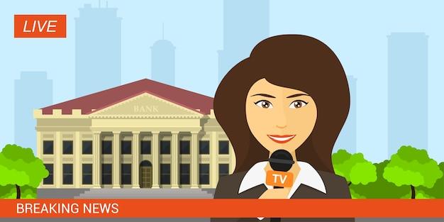 Live-nachrichtenmoderator, bild eines reporters mit mikrofon vor dem bankgebäude, professioneller journalist. aktuelle nachrichten, aktuelles nachrichtenkonzept. stilillustration.