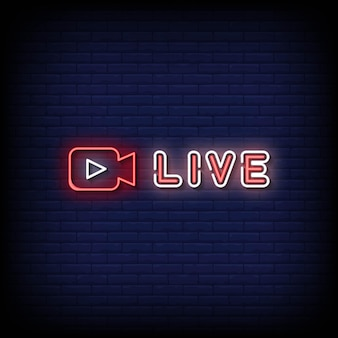 Live neon signs style text vektor