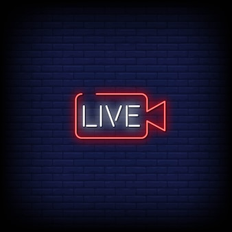 Live neon signs style text