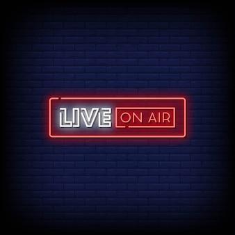 Live on air leuchtreklame stil text Premium Vektoren
