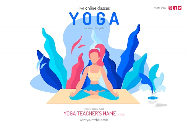 Live online yoga klassen illustration vorlage