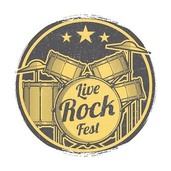 Live rock fest festival vektor grunge emblem design