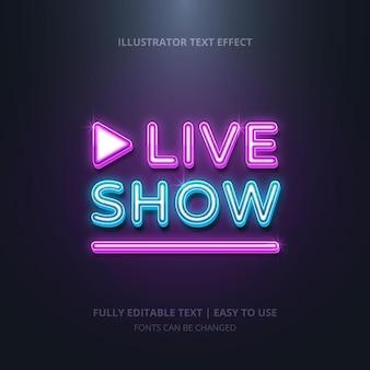 Live show neon text effekt bearbeitbar