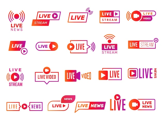 Live-stream-abzeichen. videoübertragung zeigt digitale online-textvorlagen live-news-sticker-sammlung. illustration videostream, live-streaming online