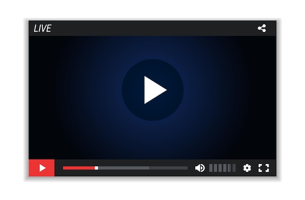 Live-stream-bildschirm. videoplayer-layout, multimedia-rahmenvorlage. digitaler film, webfenster-vektorillustration. filmbildschirm-mockup, layout multimedia-rahmenschnittstelle