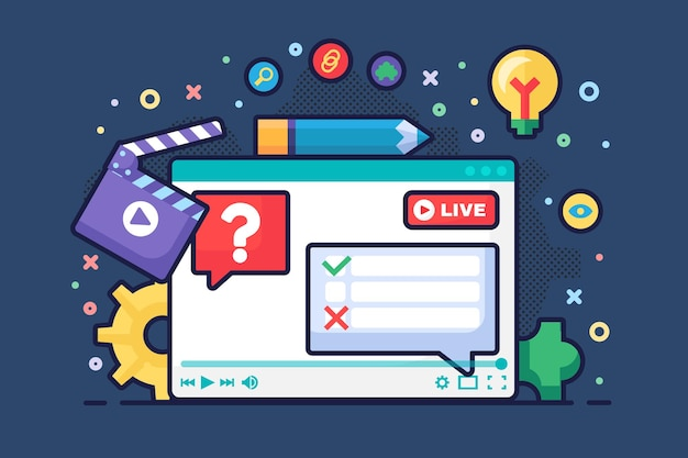 Live-stream-diskussionskonzept halbflache illustration. podcast für digitale kommunikationsideen. abstimmung und umfragen im chat. online-broadcast-design auf dunklem hintergrund. vektor isolierte farbzeichnung