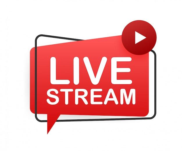 Live stream flaches logo - rotes gestaltungselement mit wiedergabetaste. illustration