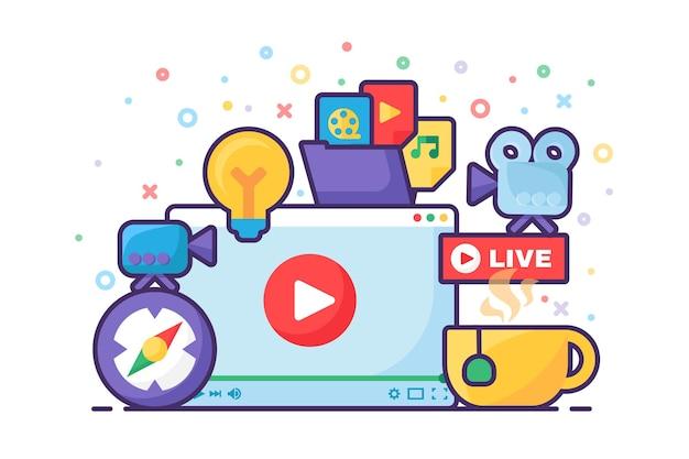 Live-stream-idee, die konzeptsymbol produziert. online-sendung auf halbflacher illustration des laptop-bildschirms. modernes deckkanal-design. social-media-podcast. vektor isolierte farbzeichnung