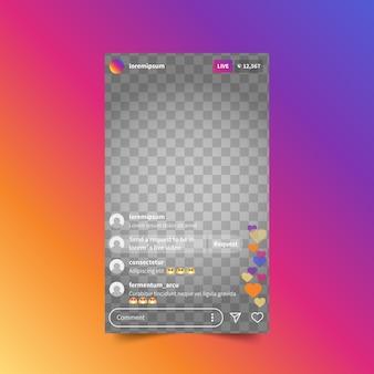 Live-stream-instagram-schnittstellenvorlage