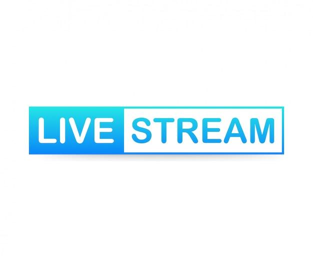 Live stream label auf weißem hintergrund.