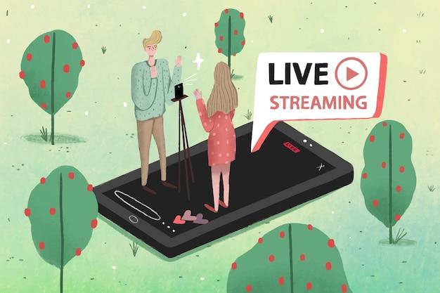 Live-stream mit menschen im naturkonzept