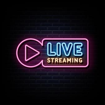 Live stream neon signs vector design template neon style