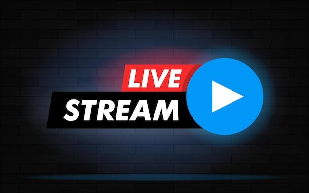 Live-stream-vektor-design-element für websites oder soziale medien mit play-button. realistischer hintergrund der backsteinmauer mit neonlicht.