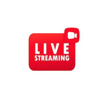 Live-stream-web-schaltfläche. bloggen. live-video. streamen. social-media-konzept. vektor auf weißem hintergrund isoliert. eps 10. Premium Vektoren