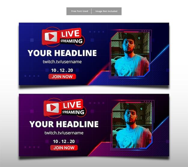 Live-streaming-banner-vorlage design.