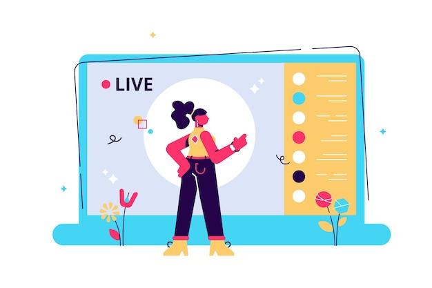 Live-streaming-ereignis, junge weibliche figur, die vor der laptop-kamera auftritt