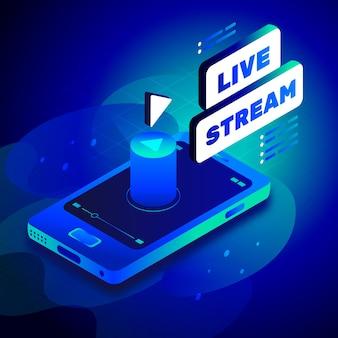 Live-streaming-konzept im isometrischen stil