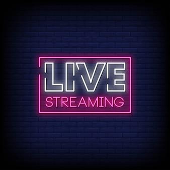 Live streaming-leuchtreklame-art-text-vektor