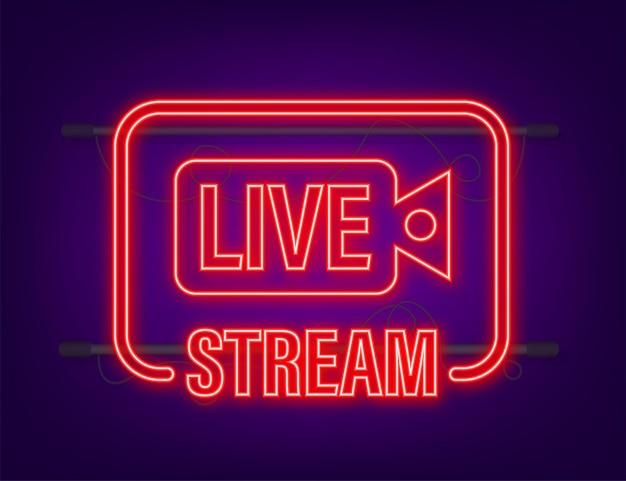 Live-streaming-logo. neon-symbol. stream-schnittstelle. vektorgrafik auf lager.