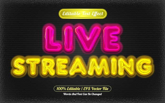 Live-streaming mit bearbeitbarem texteffektlicht-thema