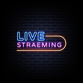 Live-streaming neon signs style text