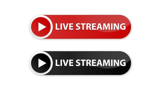 Live-streaming-symbole in modernen schaltflächen