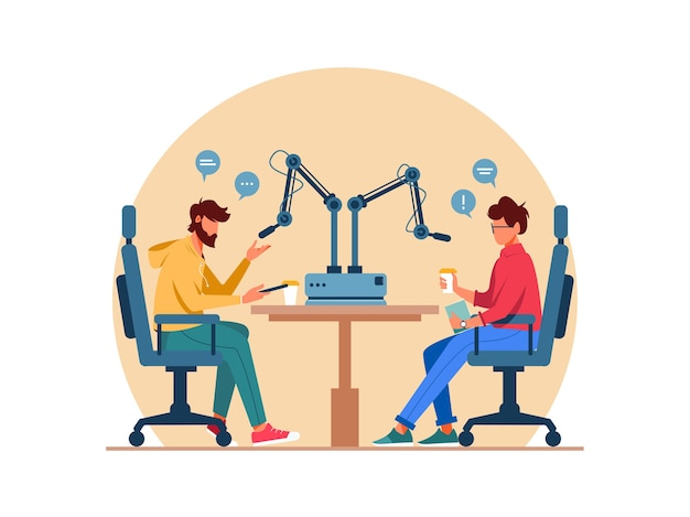 Live-streaming, übertragung, aufnahme podcast in studio-illustration