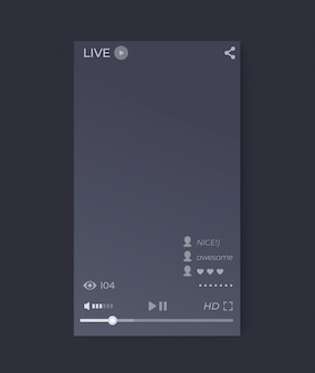 Live-streaming-video-player-oberfläche, mobile app, vektor-benutzeroberfläche, vertikale ausrichtung