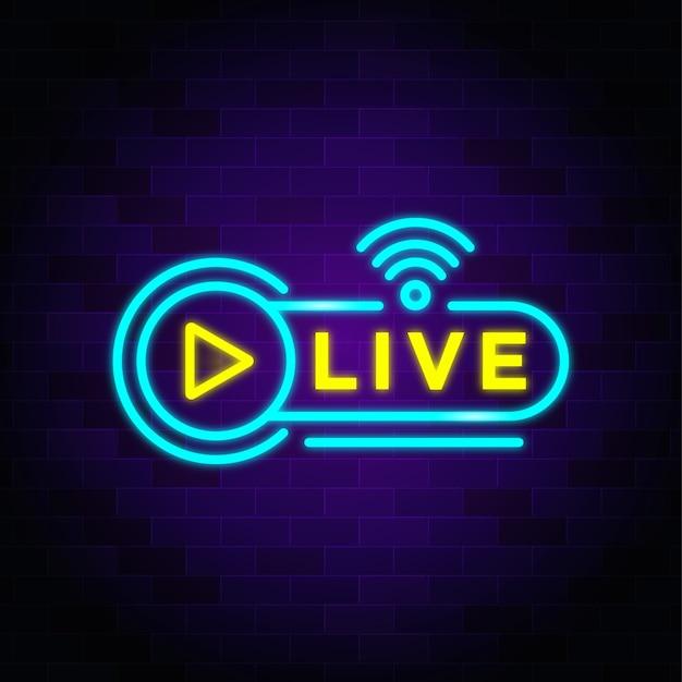 Live-übertragung leuchtreklamen stil text