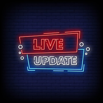 Live update neon signs style text vector