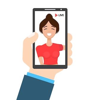 Live-video-streaming. smartphone in der hand. social media konzept. illustration in einem flachen stil.