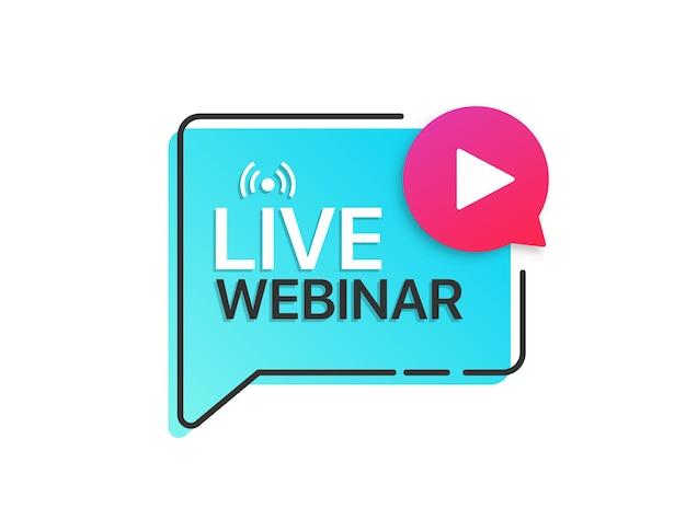 Live-webinar-button-label mit play-symbol. logo für online-bildung