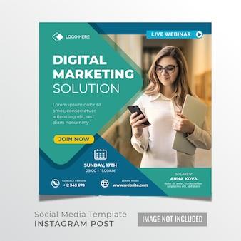 Live-webinar digitale marketing-lösung social media post