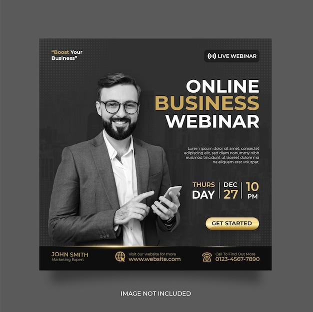 Live-webinar für digitales marketing und postvorlage für soziale medien in unternehmen