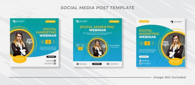 Live-webinar für digitales marketing und vorlage für social-media-beiträge für unternehmen