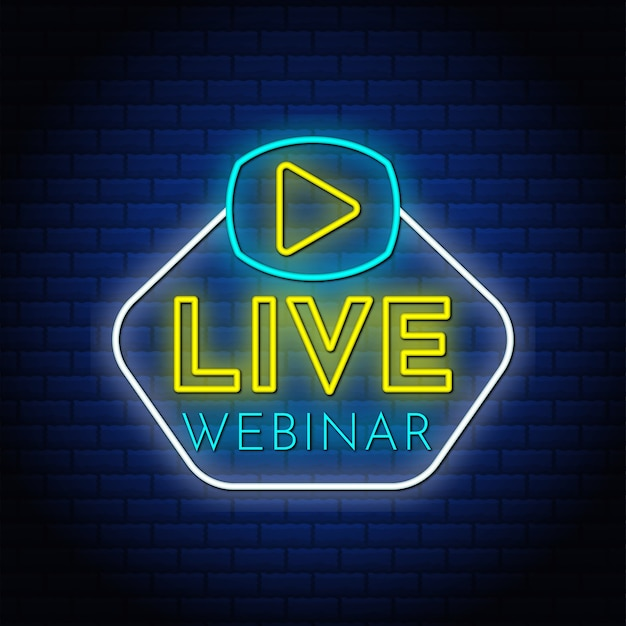 Live-webinar-neontextzeichen mit video-wiedergabetaste.