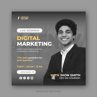 Live-webinar-social-media-post-banner-designvorlage für digitales marketing
