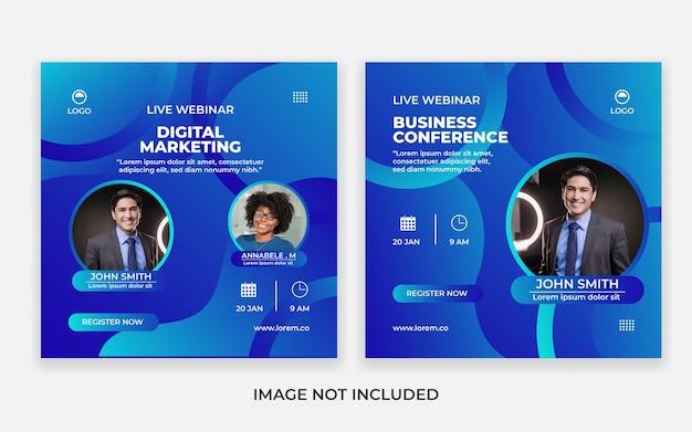 Live-webinar-vorlage, social-media-post-vorlage. digitales marketing zur unternehmensförderung. moderne bunte geschäftsschablone.