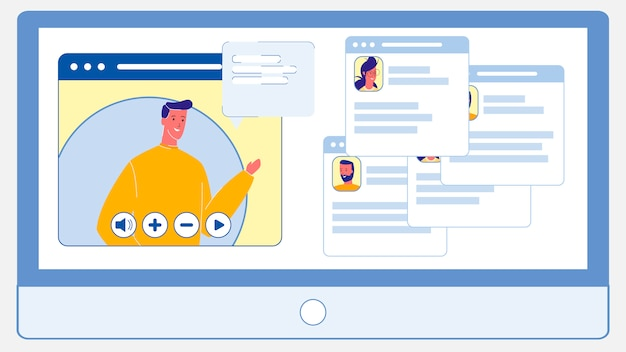 Livekonferenz, chat-flache vektor-illustration